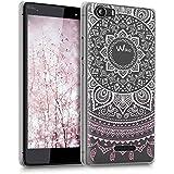 kwmobile Elegante y ligera funda Crystal Case Diseño sol indio para Wiko Fever 4G en rosa claro blanco transparente