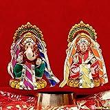 Radha Krishna Creations Multicolor Terracotta Material Lord Lakshmi-Ganesh Idol