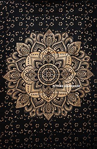 Indische, handgefertigte Wandteppiche, 100 % Baumwolle, schwarz und weiß, Elefantaufdruck, DESIGN 11