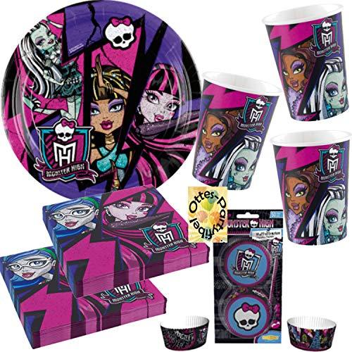 Monster High Partyset 86tlg. Teller Becher Servietten Muffinförmchen für 8 Gäste