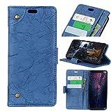 FugouSell Nokia 3.1 Plus Leder Hülle, Premium PU Leder etui Schutzhülle Tasche mit Kippständer, Slim Flip Case Cover für Nokia 3.1 Plus (Blau)
