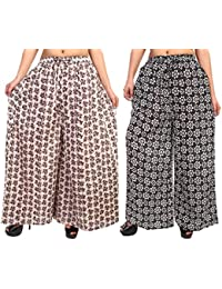 Fashion Store Women's 1 Cotton & 1 Rayon Stylish Printed Full Flair Multi-Colored Plazo (Free Size, Set Of 2)