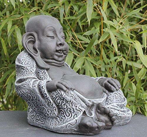 Tiefes Kunsthandwerk Buddha Figur aus Stein Schiefergrau - 3