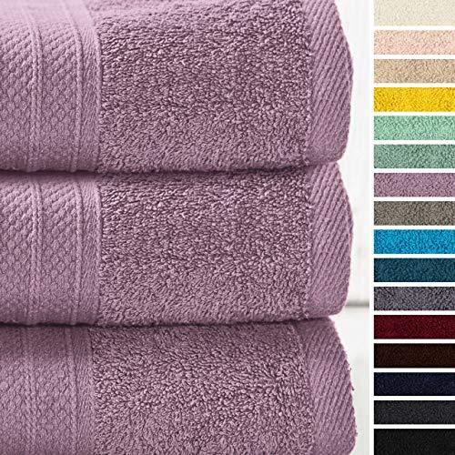 Lumaland Premium 3er Set Badetücher Handtücher Frottee 3 Badetücher Duschtücher 70 x 140 cm aus 100% Baumwolle 500 g/m² mit Aufhänger Lavendel