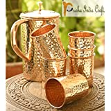 Prisha India Craft Copper Jug With 6 Glass Set, 1650ml, Brown