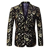 Blazer Herren Anzugjacke Slim Fit Elegante Vintage Floral Jacquard mit Zwei Knöpfen Hochzeit Prom Freizeit Stylish Gold Large