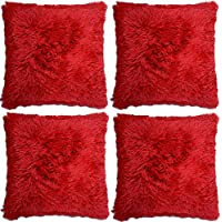 4 X Super Soft Faux Fur Cushion Cover Covers Cuddly Shaggy 43x43cm Red