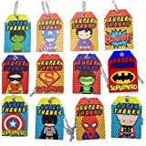 12 Pcs Superhero Thank You Tags For Kids Party Birthday Party Decoration | B'day Party Favours | Return Gift