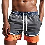 Lazzon Bañador Hombre Traje de Baño Pantalon Corto de Playa Natación Piscina Bóxers Shorts con Forro de Mallas