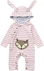 Toddler Baby Girls Boys Cartoon Fox Striped Ear Hooded Romper Jumpsuit Outfits