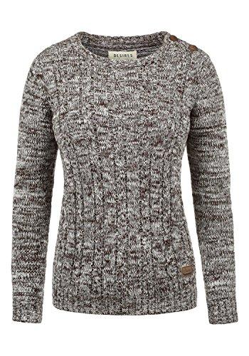 DESIRES Phia Damen Winter Strickpullover Troyer Grobstrick Pullover, Größe:L, Farbe:Coffee Bean (5973)