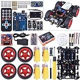 Kuman Voiture Bluetooth électrique intélligente, kit de robotique UNOR3 kit de Construction avec Module Suivi Ligne, capteur ultrasonique, tutoriel pour Les debutants d'arduino SM11