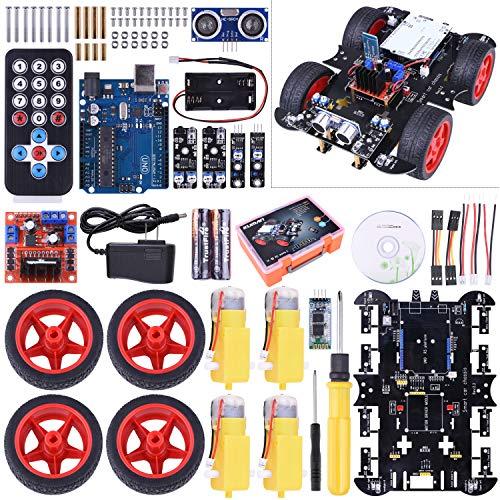 Neu smart Roboter for Arduino Car Kit mit UNO R3, Line Tracking Modul, Ultraschallsensor, APP Steuerung via Smartphone usw, Auto Robot Spielzeug für Erwachsene und Kinder SM11