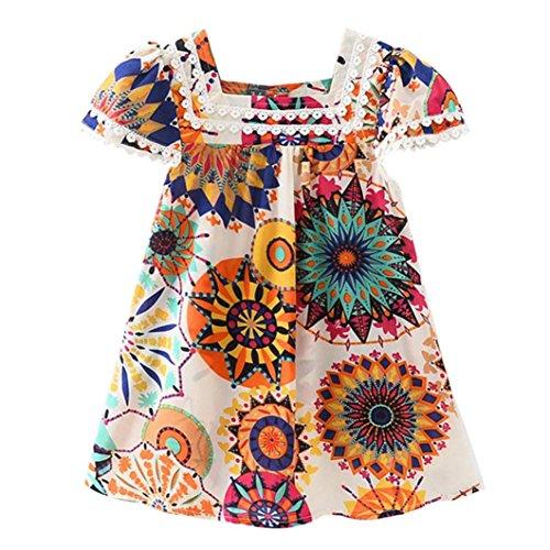 LMMVP-Kids Girls Floral Dress Sleeveless Ruffle Princess Dress Girls Sundress Dress Summer Outfits 3-7 Years
