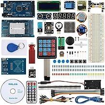 haljia proyecto Ultimate Kit de iniciación para Arduino UNO R3Mega2560Nano Robot con Mega2560Junta, temperatura humedad, sensor de ritmo cardíaco, RFID, nivel de agua, LCD1602, Relay, ultrasónico.