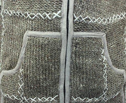 Shopoholic FASHION HERREN 100% Wolle gestrickt Hippy Kapuzenpulli Reißverschluss Jacke Braun
