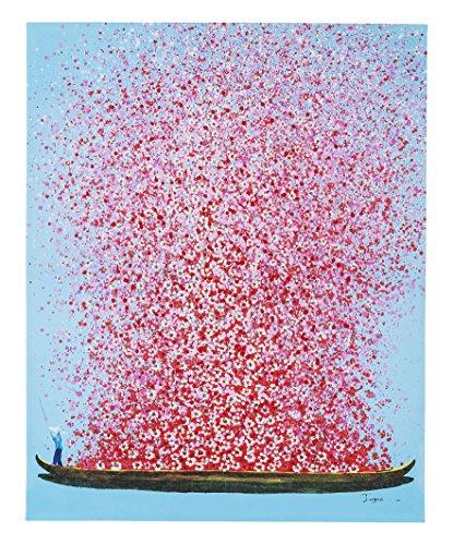 KARE Design Bild Touched Flower Boat, XXL Leinwandbilder auf Keilrahmen, Wanddekoration mit Boot und Blumen, Blau-Rosa (HxB) 100x80cm