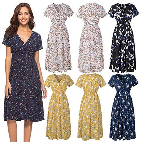 Summer Dresses DIKEWANG Chic V-Neck Holiday Chiffon Floral Print Dress Ladies Beach Party Dress Maxi Dresses for Women Summer
