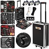 Monzana Werkzeugkoffer XXL gefüllt Set 899tlg | Qualitätswerkzeug - Werkzeugkasten Werkzeugkiste Werkzeugtrolley anthrazit