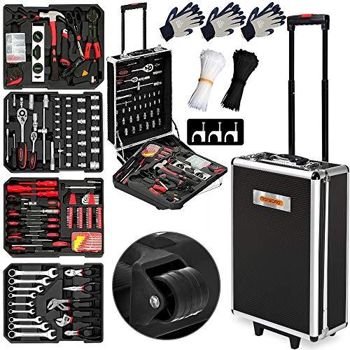Monzana® Werkzeugkoffer XXL gefüllt Set 899tlg Qualitätswerkzeug Werkzeugkasten Werkzeugkiste Werkzeugtrolley anthrazit