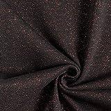 Fabulous Fabrics Glitzerbündchen Rippe – schwarz/Kupfer
