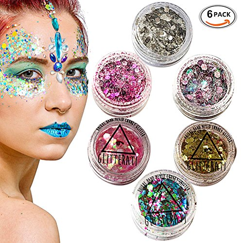 Chunky Glitter, Chunky Face Glitter, Face Glitter Set, Festival Glitter For Face, Face Glitter Chunky Glitter Cosmetic Glitter Sparkle Decoration Glitter Hair Body Face and Nails - 6 Colour