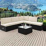 Deuba Poly Rattan Aluminium Lounge Set Schwarz | wetterbeständiges Alu-Gestell | Einzelelemente flexibel kombinierbar | UV-beständiges Polyrattan | Sitzgarnitur Couch Sitzgruppe