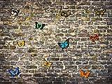 1art1 77391 Schmetterlinge - Ziegelsteinmauer Mit Farbenfrohen Schmetterlingen, 4-Teilig Fototapete Poster-Tapete 360 x 255 cm