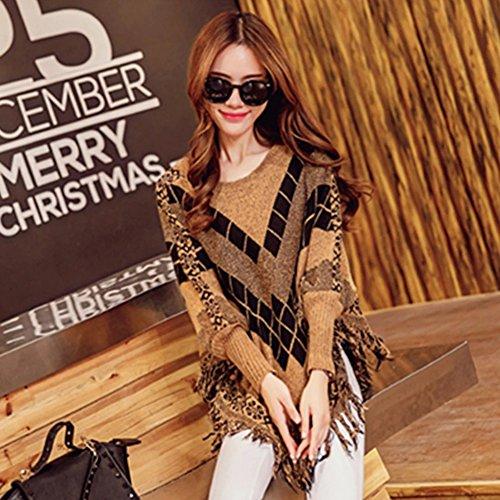 LOCOMO Tops (Luxury) - Poncho - Femme FFJ069 Brown Argyle