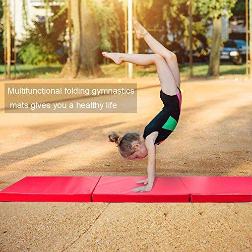 GOTOTOP Sports Materassino Yoga mat Tappetino da yoga morbido pieghevole Materasso antiscivolo Gym Mat durevole comfort per fitness e palestra Pilates/Esercizi/ginnastica 180 * 60 * 5 cm (rosso)