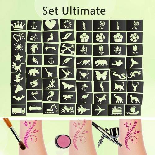 Tattoo Schablonen SET Ultimate (65 Stück) Selbstklebend Kinderschminken Airbrush - Airbrush-tattoo-schablonen-set
