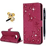 YOKIRIN Case for Samsung Galaxy S8 Case,S8 Wallet Case Bling Clear Crystal Diamond Premium Soft PU Leather Notebook Wallet Embossed Buterfly Design Case Kickstand Function Card Holder Slot Slim Flip Protective Skin Cover Phone Case for Samsung Galaxy S8 - Hot Pink
