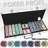 LUXUS POKERKOFFER 500 CHIPS Hologramm Chip LASERCHIPS Poker Koffer Set Jetons Metallkern Pokerset...