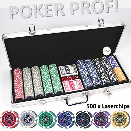 LUXUS POKERKOFFER 500 CHIPS Hologramm Chip LASERCHIPS Poker Koffer Set Jetons Metallkern Pokerset ~yx 500 5C1L