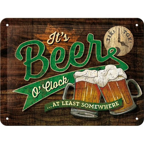 Nostalgic-Art 26214 Open Bar - Beer O' Clock | Retro Blechschild | Vintage-Schild | Wand-Dekoration | Metall | 15x20 cm