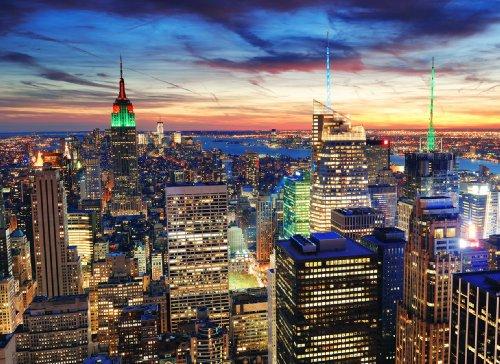 Papier Peint Photo Mural Self Adhesive- NEW YORK (07) - 272x198cm 8 parties - Autocollant - très facile à appliquer, repositionnable, enlever et remettre en place - Poster Geant XXL Manhattan État-Unis USA Ville Skyscrapes Cars Nature Paysage Cuisine Chambre Lit Enfant Salon