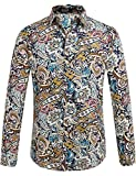 SSLR Herren Paisley Freizeit Regular Fit Button Down Langarm Hemd (Large, Blau Rot)
