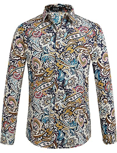 Paisley Mode (SSLR Herren Paisley Freizeit Regular Fit Button Down Langarm Hemd (X-Large, Blau Rot))