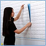 3D Brick Wallpaper, Removable Peal and Stick Wall Sticker for Living Room Kitchen (60x60cm, White)