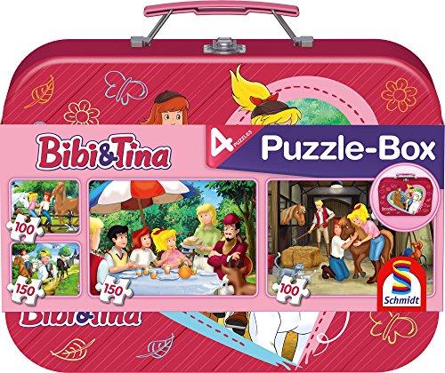 Preisvergleich Produktbild Schmidt Spiele Puzzle 56509 - Bibi und Tina, Im Metallkoffer, 2 x 100 und 2 x 150 Teile