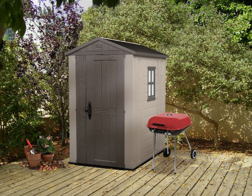 This traditional apex designed shed is made from durable polypropylene resin, that is also 'uv stabilised', which basically means it will not fade, which is a common problem with some cheaper brands. It has a steel-reinforced frame for extra strength and has a skylight and side window, which lets in plenty of light, a feature, most sheds simply do not have.