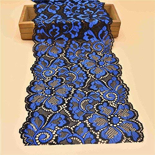 yulakes 5Meter Stretch Elastische Spitze Trim Band 18cm Breite Floral Lace Rand Trim Stickerei Spitze Stoff nähen dunkelblau -