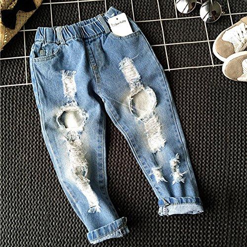 zooarts für 2–6Jahre Unisex Kinder Jungen Mädchen Broken Loch Jean Denim Hose Outfits, multi, 90 (2T) (Mädchen 2t-outfits)