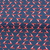 Baumwolljersey Segelboote dunkelblau rosa Kinderstoffe