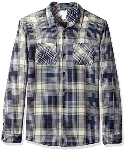 RVCA herren Neutral Plaid Long Sleeve Woven Shirt  Button Down Hemd  -  grau -  (Woven Shirt Plaid Sleeve Long)
