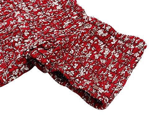 Walant Damen Boho StrandkleidSchulterfrei Schlitz Maxi Kleid Sommerkleid Lang Rot