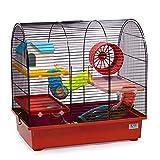 CTC-Trade | Hamsterkäfige Rot Außenmaße 49x32,5x48,5 Mäusekäfig Nager Hamster Plastik Kleintier Käfig mit Zubehör