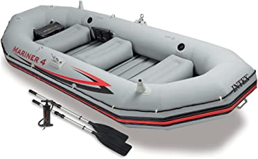Intex Mariner 4, 4-Person Inflatable Boat Set with Aluminum Oars and High Output Air Pump (Latest Model)