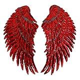 Milya Aufnäher Bügelbild Aufbügler Bügeleisen auf Patches Applikation Engel Flügel Muster 2er für T-Shirt Jeans Kleidung Taschen, Rot