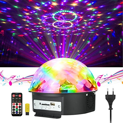 Disco Licht , JELEGAN Bühne Licht LED Lichteffekte MP3 Musik Player RGB Sprachaktiviertes Kristall Magic Ball Party Beleuchtung für Show Disco KTV Stab Stadium Club Hochzeit Geburtstag Party Mp3 Player Mit Licht